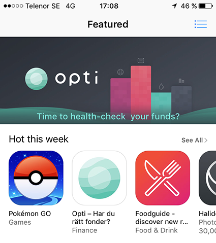 Opti featured i App Store Apple