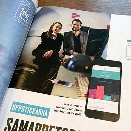 Opti med i Dagens Industri augusti 2017